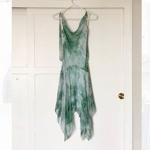 SILK BCBG MaxAzria halter dress boho asymmetrical